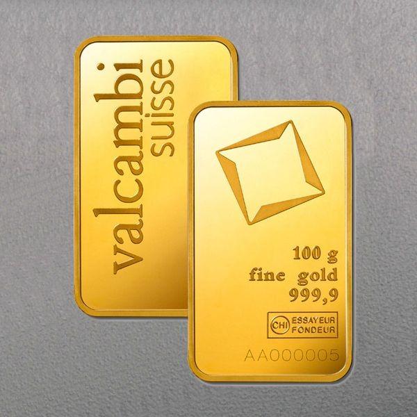 Goldbarren 100g VALCAMBI, geprägt (im Blister)