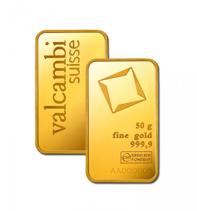 Goldbarren 50g VALCAMBI, prägefrisch